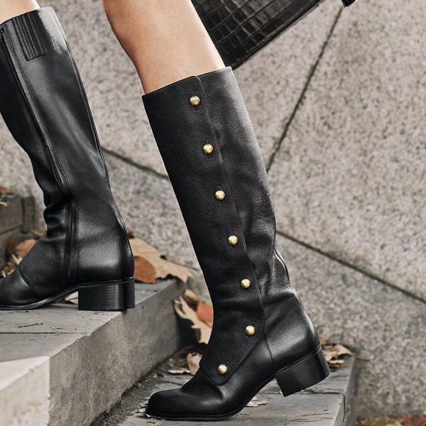 Black Gold Studs Chunky Heel Boots Knee High Boots image 4