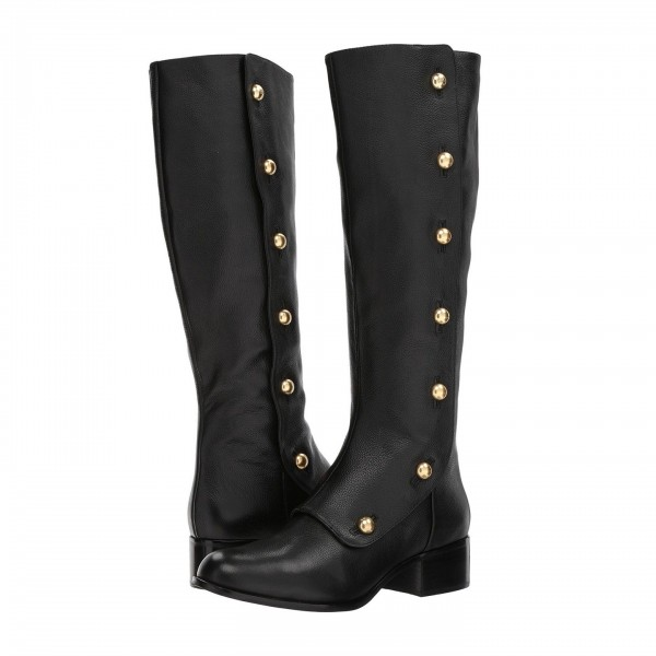 Black Gold Studs Chunky Heel Boots Knee High Boots image 5