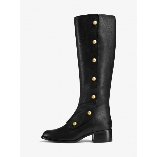 Black Gold Studs Chunky Heel Boots Knee High Boots image 6
