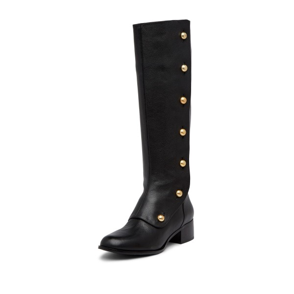 Black Gold Studs Chunky Heel Boots Knee High Boots image 1