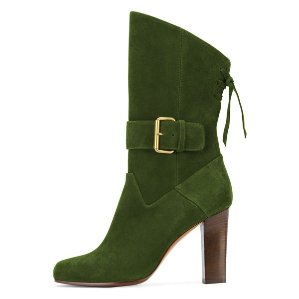 Green Suede Square Toe Boots Back Lace up Chunky Heel Mid Calf Boots image 3