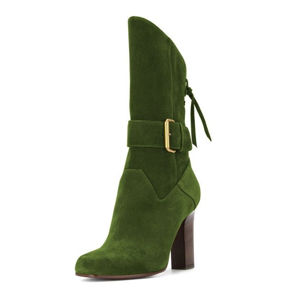 Green Suede Square Toe Boots Back Lace up Chunky Heel Mid Calf Boots image 1
