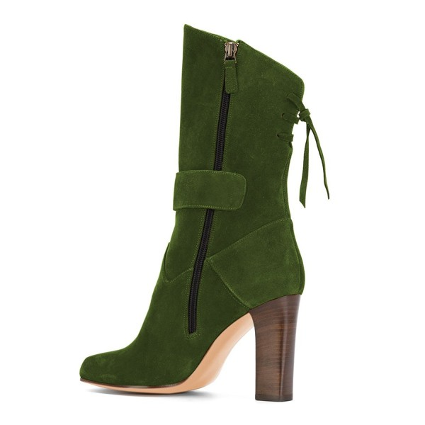 Green Suede Square Toe Boots Back Lace up Chunky Heel Mid Calf Boots image 4