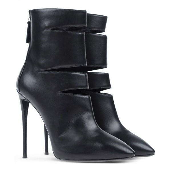 Black High Heel Boots Cut out Stiletto Heel Sexy Ankle Booties image 2