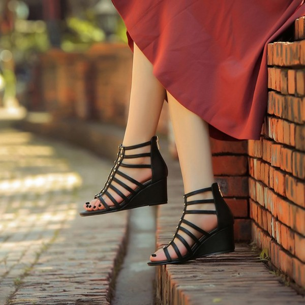 0b7a622fea0 Black Wedge Sandals Open Toe Gladiator Studs Shoes US Size 3-15 image 1 ...