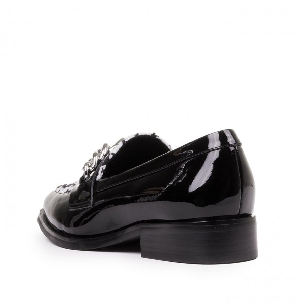 Black Hounds-tooth Loafers for Women Square Toe Shoes with Chains image 3
