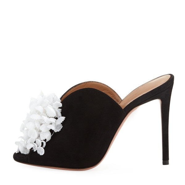 Black Suede and White Flower Peep Toe Stiletto Heel Mules image 3
