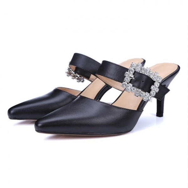 Black Kitten Heels Pointy Toe Heeled Mules with Rhinestone Buckle image 2