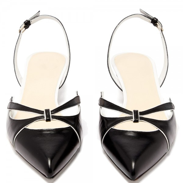 Black Kitten Heel Slingback Pumps image 5