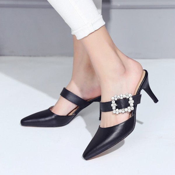 Black Kitten Heels Pointy Toe Heeled Mules with Rhinestone Buckle image 3