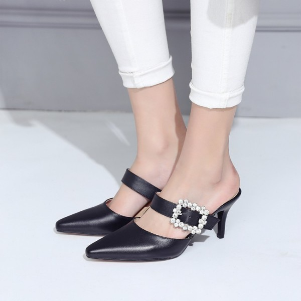 Black Kitten Heels Pointy Toe Heeled Mules with Rhinestone Buckle image 1