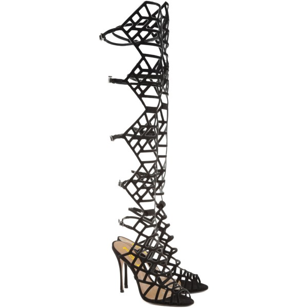 Black Gladiator Heels Strappy Over-the-knee Stiletto Heels Sandals image 5