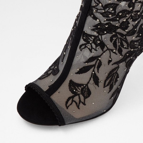 Black Lace Floral Peep Toe Booties Stiletto Heel Ankle Boots image 4