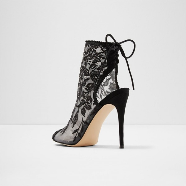 Black Lace Floral Peep Toe Booties Stiletto Heel Ankle Boots image 3