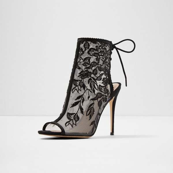 Black Lace Floral Peep Toe Booties Stiletto Heel Ankle Boots image 1