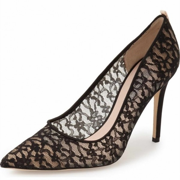 328758016ee1 Black Lace Heels Pointy Toe Stiletto Heels Pumps for Formal event ...