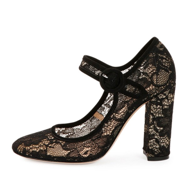 Black Lace Round Toe Chunky Heel Mary Jane Pumps image 4