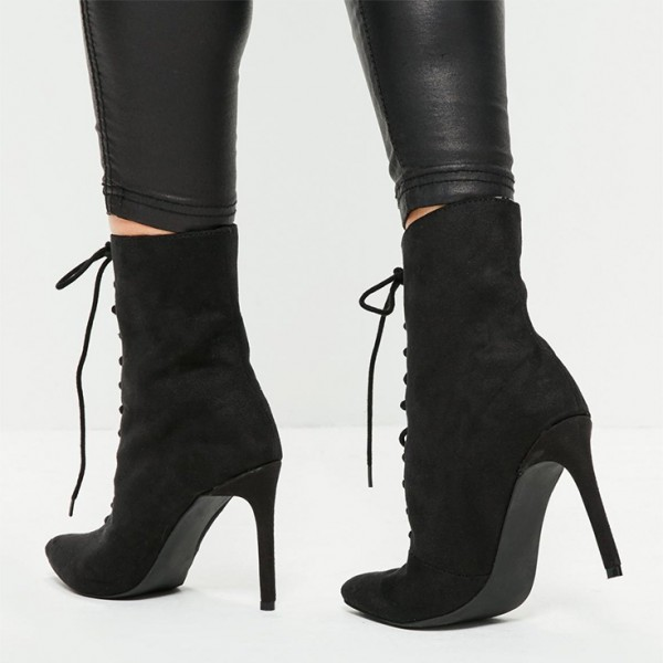 Black Lace up Boots Suede Stiletto Heel Ankle Booties image 3