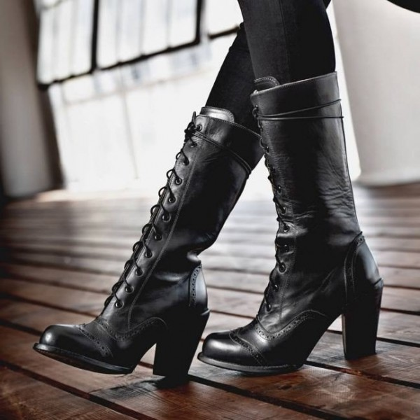 Black Lace Up Boots Chunky Heel Mid