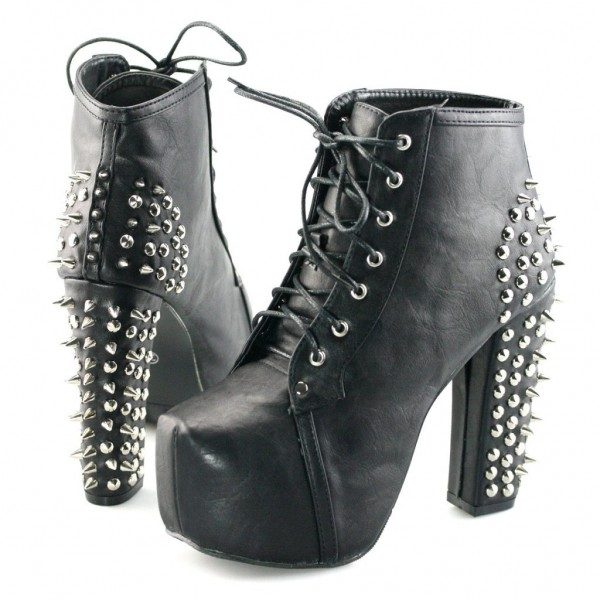 Black Lace up Boots Chunky Heels Platform Shoes with Rivets image 2