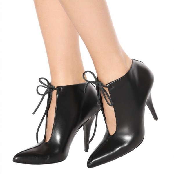 Black Lace up Boots Pointy Toe Stiletto Heels Ankle Booties image 1