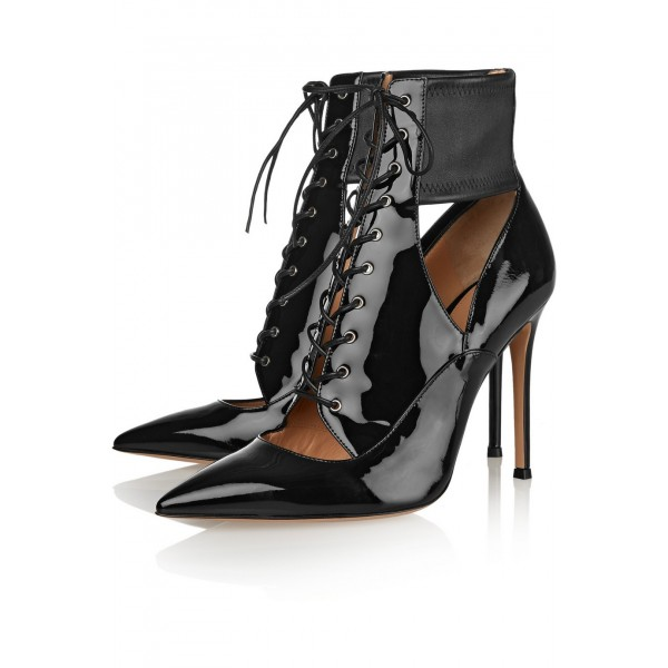 Black Patent Leather Cut Out Boots Pointy Toe Lace up Stiletto Booties image 1