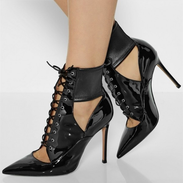 Women's Black Lace up Boots Pointy Toe Stiletto Heels Ankle Booties image 2