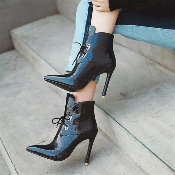 Black Lace up Boots Stiletto Heel Pointy Toe Ankle Boots image 2