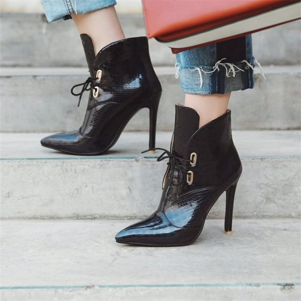 Black Lace up Boots Stiletto Heel Pointy Toe Ankle Boots image 3