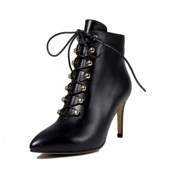 Black Womens Dress Boots Pointy Toe Lace Up Ankle Booties For Work
