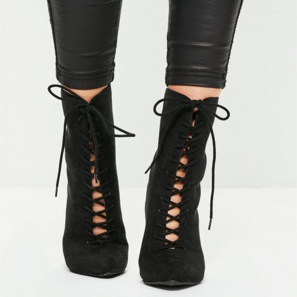 Black Lace up Boots Suede Stiletto Heel Ankle Booties image 2