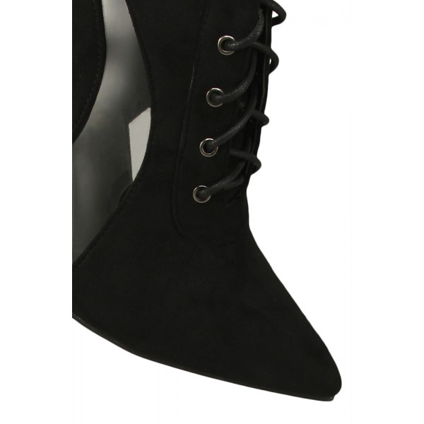 Black Lace Up Boots Suede Stiletto Heels Retro Pointy Toe Ankle Boots image 3