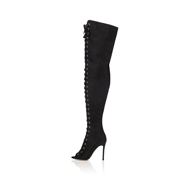 Black Thigh High Lace up Boots Satin Stiletto Heel Long Boots image 2