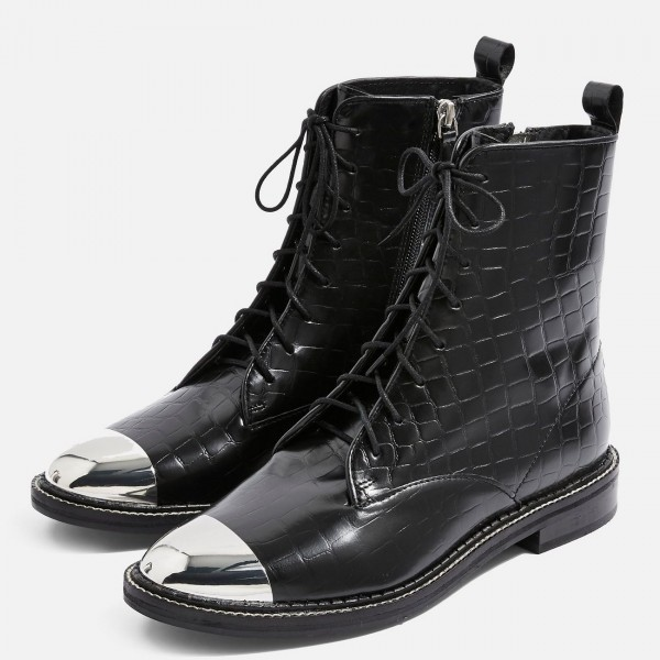Black Lace Up Boots With Silver Toe for