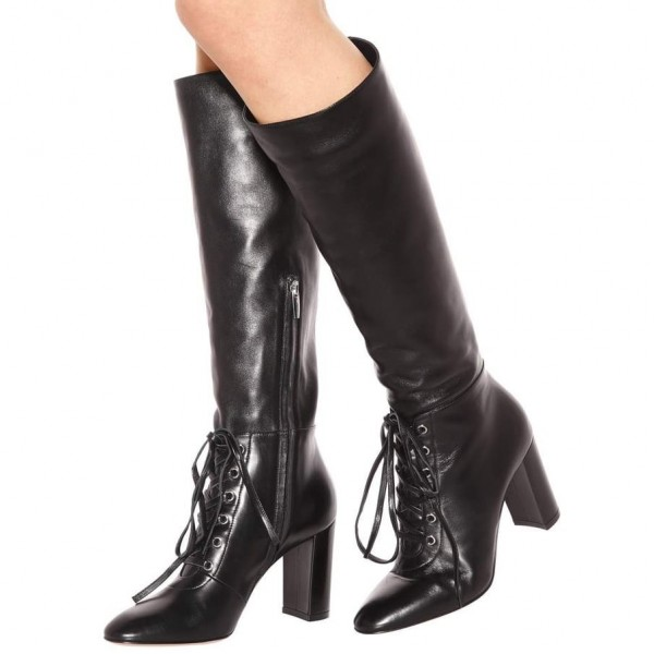 c99860775ed Black Lace up Chunky Heel Boots Round Toe Knee-high Boots with Zipper