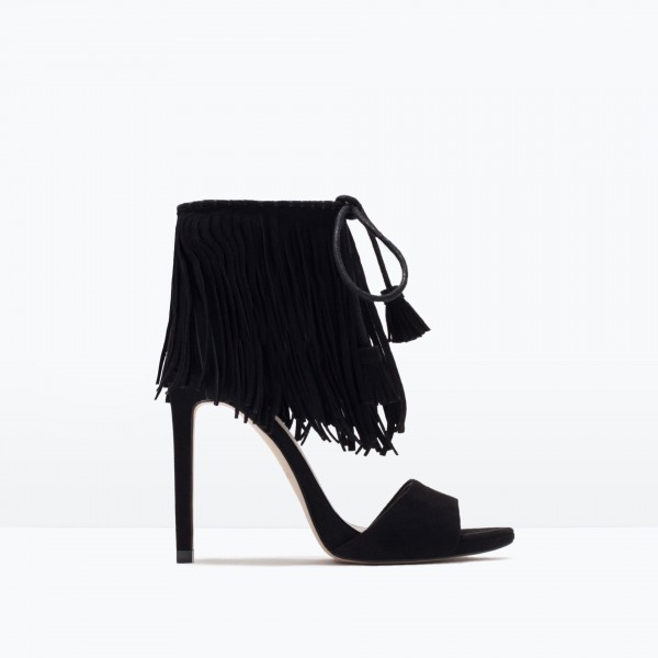 Black Fringe Sandals Suede Lace up Stiletto Heels for Women image 3