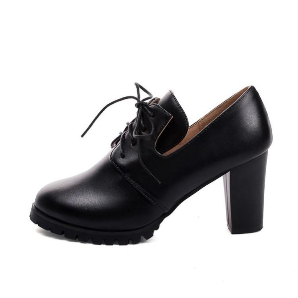 Black Lace up Oxford Heels Round Toe Chunky Heel Vintage Shoes image 8