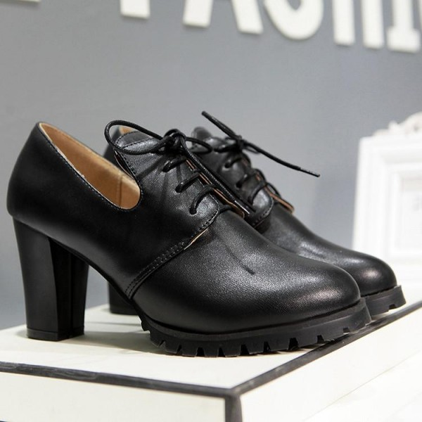 Black Lace up Oxford Heels Round Toe Chunky Heel Vintage Shoes image 3