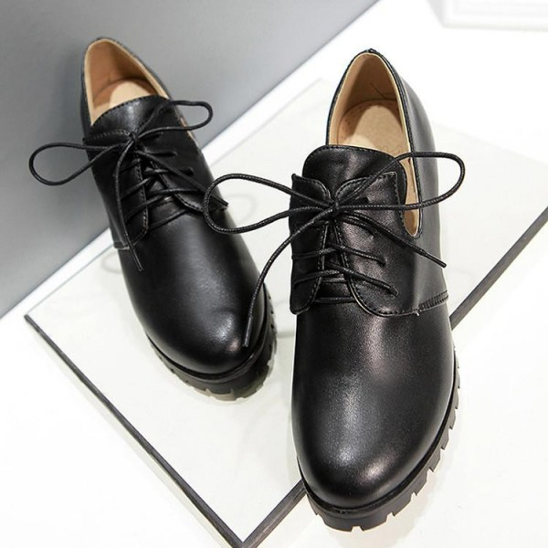 Black Lace up Oxford Heels Round Toe Chunky Heel Vintage Shoes image 5