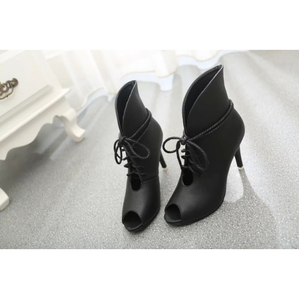 Women's Black Peep Toe Lace up Heels Ankle Summer Boots image 4
