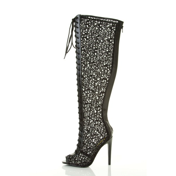 Black Summer Boots Lace up Peep Toe Wide Calf Gladiator Boots image 4