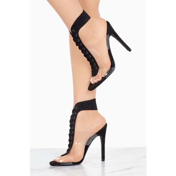 Black Lace up Sandals Clear Stiletto Heel Sandals image 3