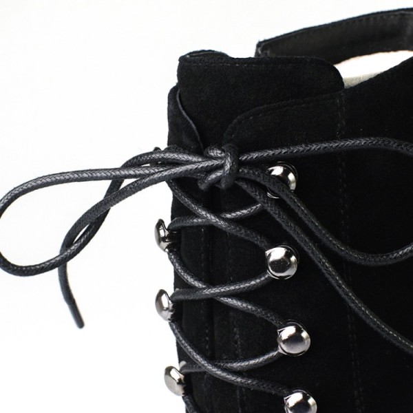 Black Lace up Boots Pointy Toe Suede Stiletto Heel Booties for Work image 5
