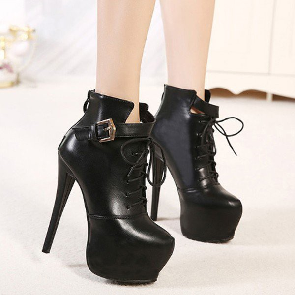 Black Lace up Boots Stiletto Heel Platform Ankle Booties image 3