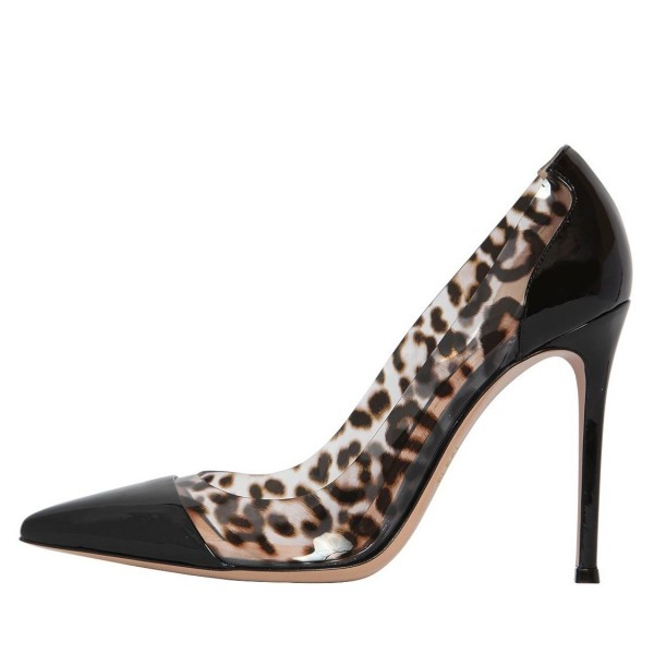 Black Leopard Print Heels Pointy Toe Stiletto Heels Clear Pumps image 1