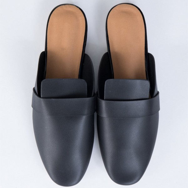 Black Round Toe Loafer Mules Casual Flat Loafers for Women image 3