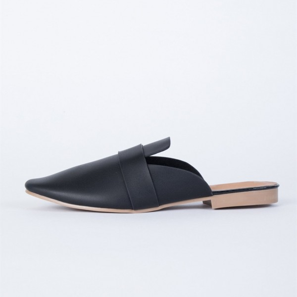 Black Round Toe Loafer Mules Casual Flat Loafers for Women image 2