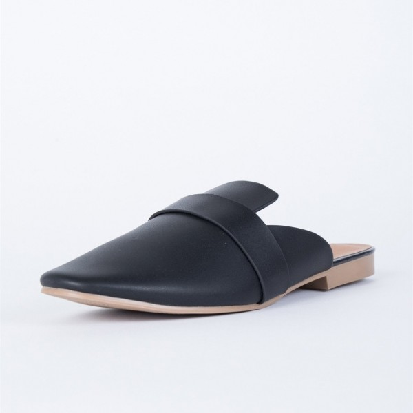 a43e3755816 Black Round Toe Loafer Mules Casual Flat Loafers for Women for Work ...