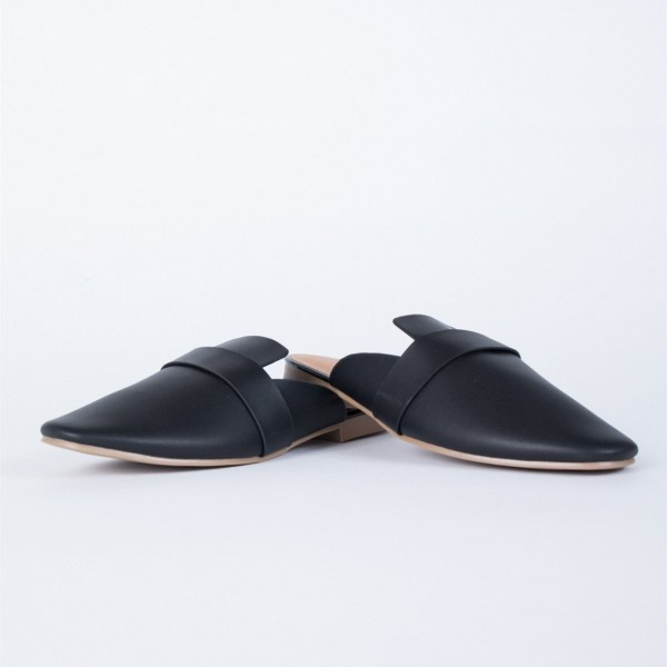 Black Round Toe Loafer Mules Casual Flat Loafers for Women image 4