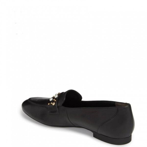 Black Loafers for Women Round Toe Flats with Studs and Studs image 2